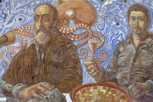 mural with schizophrenic old man sitting at table with pizza and octopus in background